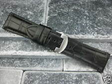 26mm Grain Leather Strap Deployment Buckle Watch Band PAM Black G BKB