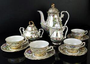 Schlottenhof Mokka Service Perlmutt 4 Personen Kaffe-Teeservice Goldrand um 1928
