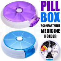 Travel Size 7 Day Pill Box Medicine Tablet Dispenser Mini Organiser Weekly Case