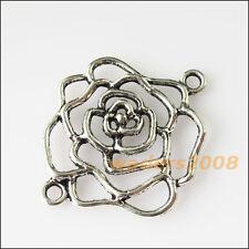 4 New Rose Flowers Connectors Tibetan Silver Tone Charms Pendants 31x37mm