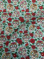 Black Skull Candy Crânes Imprimés 100/% Coton Popeline Tissu.