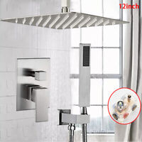"""Brushed Nickel 12"""" Ultra-thin Shower Faucet Set With Mixer Valve Handheld Shower"""