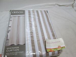 NEW Croscill SANTORINI Natural  Shower Curtain ~ Beige, Tan,Taupe, White Stripes