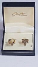 Stratton of London Rectangular Cufflinks Boxed Gold Ridged Silver V Edging No44