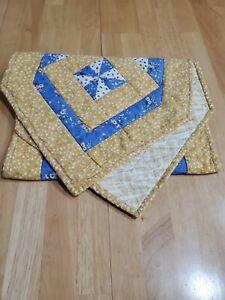 VINTAGE HANDMADE QUILT TABLE RUNNER REVERSIBLE YELLOW BLUE SPRING EASTER