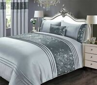 ART DECO-STYLE SEQUINS PLEATS FAUX SILK GREY SUPER KING DUVET COVER