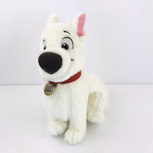 "Disney Bolt Dog 11"" Plush Puppy White Soft Stuffed Animal Toy Sewn Eyes Collar"