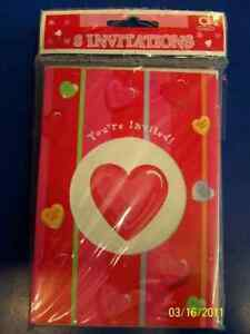 Candy Hearts Red Pink Valentine's Day Holiday Party Invitations w/Envelopes