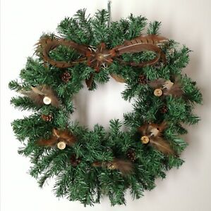 Hand Decorated Christmas Wreath Bow Pheasant Feathers Cartridges Pine Cones