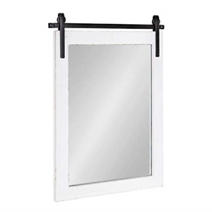 Kate and Laurel Cates Farmhouse Wood Framed Wall Mirror, 18 x 26, White, Barn