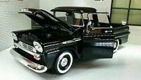 1958 Chevrolet Apache Fleetside Pickup Diecast Motormax Model 1:24 Scale Black