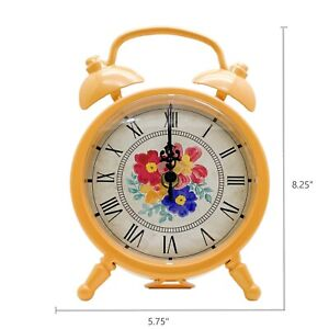 Pioneer Woman Yellow Floral Vintage Style Clock Battery Powered Country Design