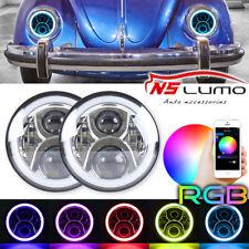 7inch LED Headlight W/ Bluetooth RGB Halo Ring Hi/Low Beam for VW Beetle Classic