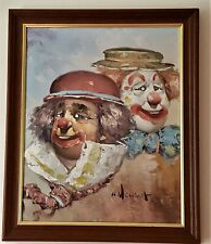 William Moninet Original Oil Painting Circus Clowns *** Final Reduction ***