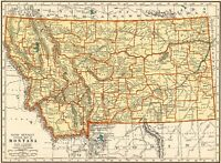 1937 Antique MONTANA MAP Vintage State Map of Montana Gallery Wall Art 8408