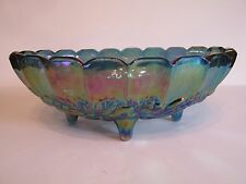 Gorgeous Vintage Indiana Glass Blue Carnival Glass Harvest Oval Footed Bowl