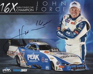 JOHN FORCE HAND SIGNED 8x10 COLOR PHOTO+COA     16X NHRA MUSTANG FUNNY CAR CHAMP