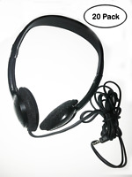 Classroom Pack of 20 Over-The-Head Headphones for School – Black – 4′ Cable