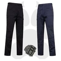 Black Navy Combat Cargo Action Workwear Trouser Pants optional Knee-Pads