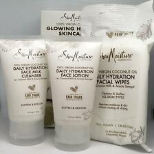 Shea Moisture Glowing Hydration Skincare Kit Coconut Cleanser Lotion & Wipes