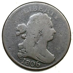 1806 C-4 Rotated Rev Lg 6 Draped Bust Half Cent Coin 1/2c