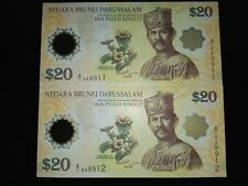 2 Brunei Commemorative $20 note (running number)