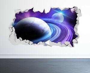SPACE WALL STICKER 3D LOOK - MOON PLANET GALAXY STARS BOYS BEDROOM  Z1024