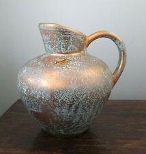 Mid Century Modern Blue Stangl Art Pottery 22k Gold Pitcher Vase