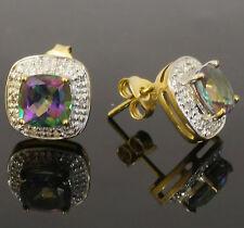 9ct Yellow Gold Mystic Topaz & Diamond Cluster Stud Earrings (10x10mm)