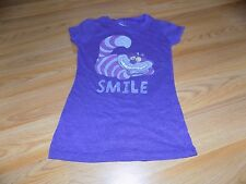 Size Medium 7-8 Disney Alice in Wonderland Cheshire Cat SMILE Purple T Shirt Top