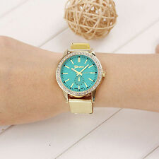 Ladies Fashion Gold Geneva Quartz Light Green Faced Rhinestone Wrist Watch.