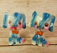 Vintage Whimsical Pair of Porcelain Blue Circus Elephants Japan Mid-Century