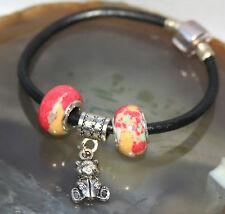 Leather & Silver Barrel Clasp TEDDY BEAR Jasper Crystal Charm Bead Bracelet