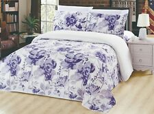 Bamboo 3 Pieces Duvet Cover Set, Purple Floral, Purple and White, King Size