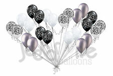 24 pc Elegant Damask Black White Clear Silver Latex Balloons Party Decoration