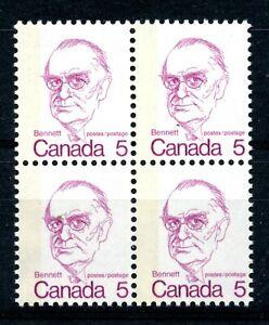 Weeda Canada 590 T4 VF MNH block, G2aL 1-bar tag error, perf shift, LF CV $80