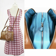 NEW $3,100 PRADA RUNWAY Brown Blue Leather INSIDE Satchel LARGE Zip BAG & Strap