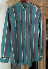 Wrangler Western Cowboy Rodeo Vintage 17 1/2-36 Reg Fit XLong Tails Heavy Shirt