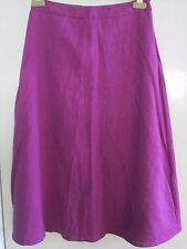 DASH LADIES CALF LENGTH SKIRT SIZE 10 DEEP CERISE FULLY LINED LINEN MIX