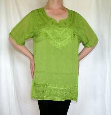 Tunika Bluse Hemd hellgrün kiwi Stickerei Indien Orient Sommer Goa XL