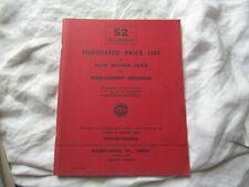 1952 Massey Harris machines tractor parts price list catalog book manual