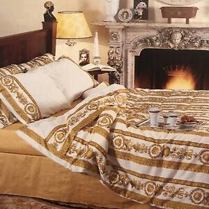 90's Gianni Versace Home 200th.c Cotton Barocco Medusa White King Flat Sheet