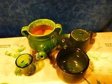 lot 4piéces vertes vintage  vaisselle,céramique ,porcelaine