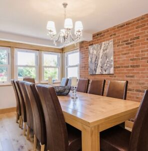 Pear Wood Dining Table & 12 Leather Chairs