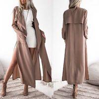 Women Long Sleeve Split Cardigan Long Jacket Trench Coat Fashion New 2019