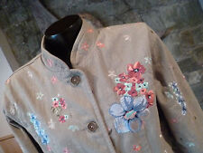 Denim & Co Sage Green Jacket Beautifully Embroidered Floral Design Mandarin  M