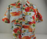 InGear Mens M Hawaiian Shirt Palm Trees Sail Boats Floral