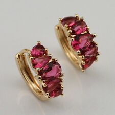 Gorgeous peach CZ Vogue Jewelry Gift Yellow Gold Filled Huggie Earrings er720