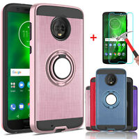 For Motorola Moto G6 Case Cover With Ring Stand Holder + Glass Screen Protector