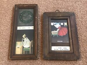 2 Antique 1906 Young Girl Candlestick Phone & Doing Laundry Framed Ullman Co